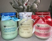 Christmas Candles, Holiday Candles, Peppermint Eucalyptus Candle, Cinnamon Vanilla Candle, Frosted Juniper Candle, 16oz Soy Wax Candle