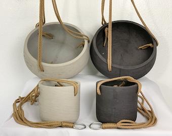 Hanging Planter / Cement Wall Pots / Concrete Handmade indoor & outdoor Pot /  Succulent Planter / Bowl Planter