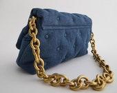 Blue Denim Quilted Shoulder Bag with Thick Chain Strap - Button - Inner Pocket - Luxury Designer Inspired - Streetwear - Spring Summer