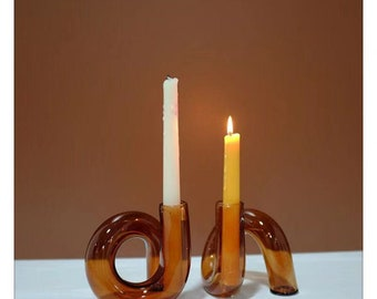 Groovy vintage inspired candle holder 70s style orange candlestick holder wavy candle antique curve vase glass mid-century candlestick