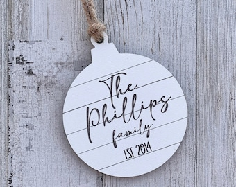 Custom family ornament, personalized wedding ornament, family name gift, realtor gift for buyers, Christmas gift for coworker, customized