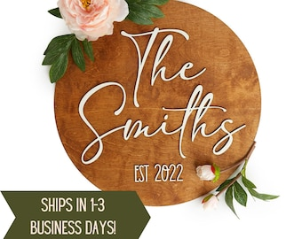 Family Name Sign Wood, Wedding Decorations Reception, Rustic Wedding Decor, Newly Wed Gifts, Gift for New Couple, Personalized Wedding Gift