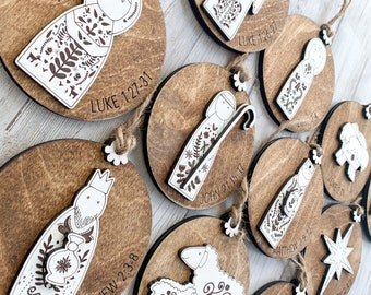 Christian advent ornaments, 12 days of Christmas ornaments set, Christmas Bible verse, Family tradition activity, nativity set wood, Nordic