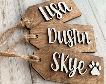 Wood gift tag name, stocking personalized tags, custom Christmas tags, name tags wooden, stocking tags personalized, handmade gift tags