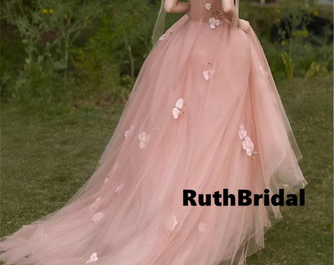 Prom dresstulle dress Wedding guest dressbridesmaid dress. Pink sling dress Petal pink wedding dress female