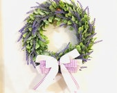 Everyday Lavender Wreath for Farmhouse Front Doors, Pantry Door, Cabinet Doors, Windows, All Seasons, Country Home, rustic, purple small