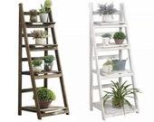 Rustic White Brown Wooden Flower Pot Plant Stand 4 Tier Display Rack Ladder Shelf Shelves Organizer Garden