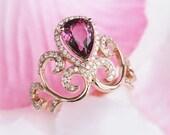 Rhodolite Garnet Ring Pear Shape Garnet Crown Ring 14K Rose Gold Ring Simulated Diamond Filigree Ring Women Bridal Wedding Ring in Rose Gold