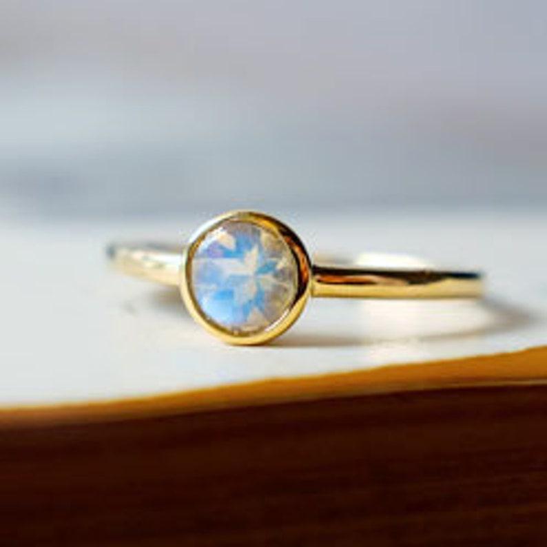 Rainbow Moonstone Solitaire Ring Classic Moonstone Promise Ring 14K Gold Bezel Set Moonstone Handmade Ring June Birthstone Anniversary Ring.