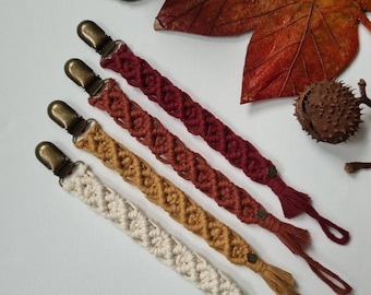 Macrame pacifier chains with or without pacifier ring, boho, many colors