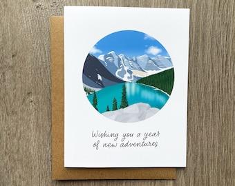 Banff Adventure Birthday Card, Moraine Lake Greeting Card, Card for Travel Lover, Anniversary Card, Romantic Gift