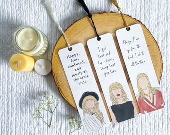 Taylor Swift Inspired Bookmark Collection   Individual or Set   Handmade Bookmarks   Laminated with Tassel   Gift for Book Lovers
