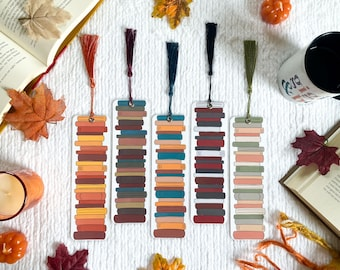 Fall Stack of Books Bookmark Collection   Custom Option Available   Individual or Set   Handmade Bookmarks   Laminated with Tassel