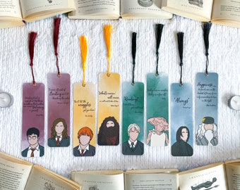 Wizard Inspired Bookmark Collection | Individual or Set | Handmade Bookmarks | Laminated with Tassel | Gift for Book Lovers