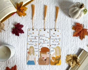 Fall Taylor Swift Inspired Bookmark Collection   Individual or Set   Handmade Bookmarks   Laminated with Tassel   Gift for Book Lovers