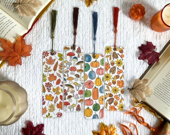 Autumn Woodlands Fall Bookmark Collection   Cottagecore   Individual or Set   Handmade Bookmarks   Laminated with Tassel   Book Lover Gift