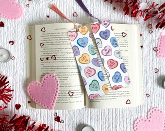 Conversation Hearts Valentine's Day Bookmark Collection | Individual or Set | Handmade | Laminated with Tassel | Gift for Book Lovers