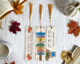 Stars Hollow Autumn Bookmark Collection   Individual or Set   Handmade Bookmarks   Laminated with Tassel   Gilmore Girls inspired   Fall