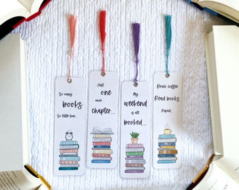 So Many Books... Bookmark Collection | Stack of Books | Individual or Set | Handmade | Laminated with Tassel | Gift for Book Lovers
