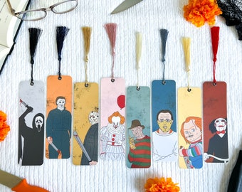 Horror Movie Villains Inspired Character Bookmark Collection | Halloween | Handmade | Laminated with Tassel | Gift | Individual or Set