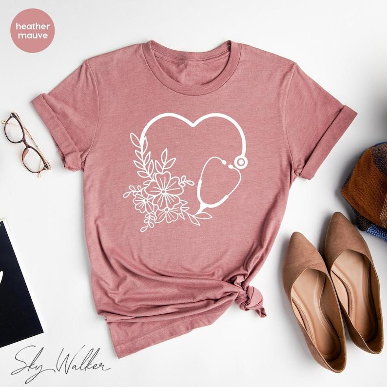 Gearhuman – Cute Nurse T-Shirt Floral Stethoscope T Shirt Nursing School – 3D Tshirt – TH-0114