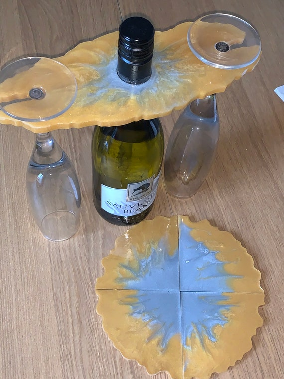 resin wine and glass holder with coasters