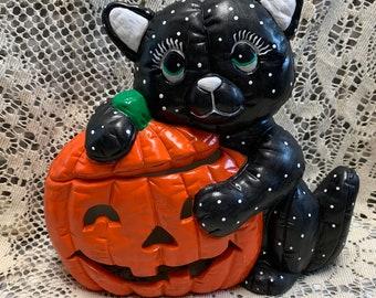 Vintage Halloween Cat and Pumpkin Ceramic
