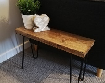 Rustic Solid Wood Side Coffee Table with Hairpin Legs. Handmade in Wales from Reclaimed Timber.