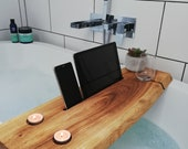 Handmade in Wales. Solid Live Edge Wooden Bath Caddy Tray. Christmas / Birthday Gift. Unique and Customisable.