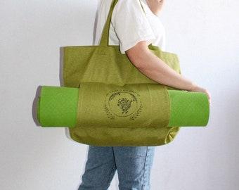 Canvas Yoga Mat Bag Basic Tote Bag Shoulder Bag Yoga Mat Carrying Bag Eco Bag Handmade Bag Market Bag with Pocket