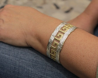 Gifts For Mom Sterling Silver Bracelet Wide Avante Garde Spiral Bracelet Greek Spiral Bracelet