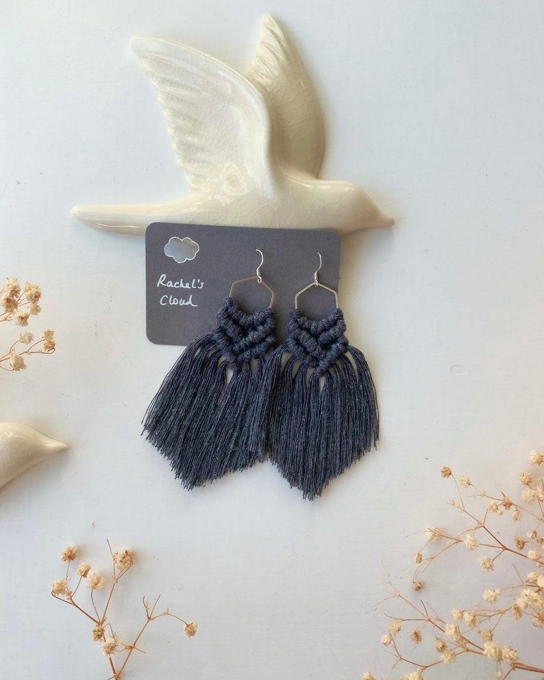 Boho cotton hexagon Handmade Macrame earrings charcoal sterling silver