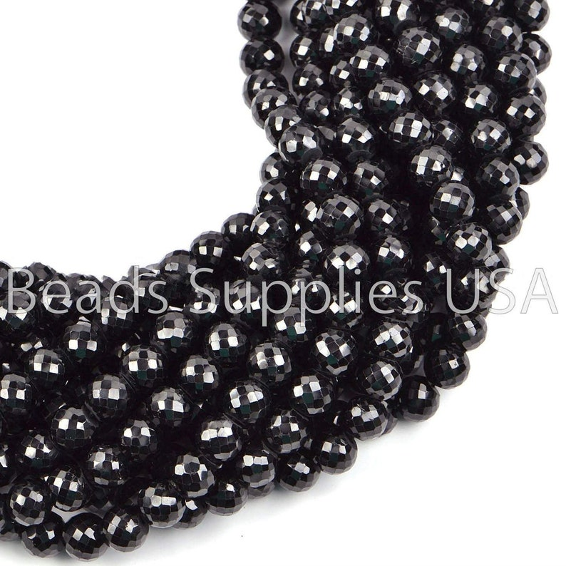 PK2 Black Spinel Faceted Round Ball Gemstone Loose Spacer Craft Beads Strand 15 4mm