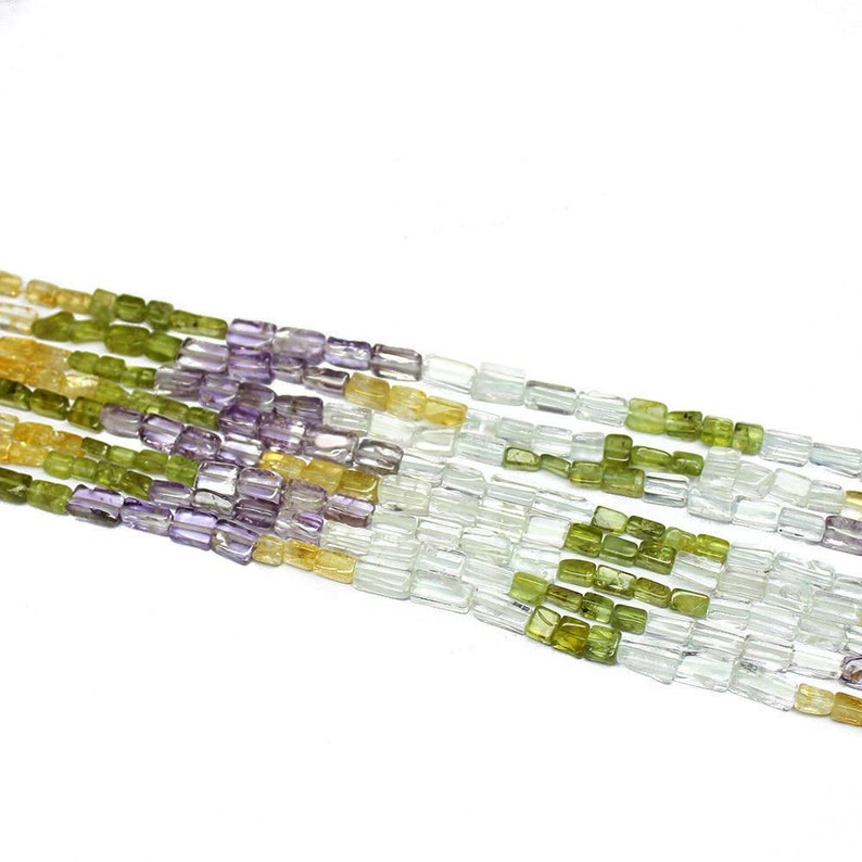 5 Strand Natural Multi Smooth Rectangle Gemstone Loose Spacer Beads 14 6mm 7mm PK2