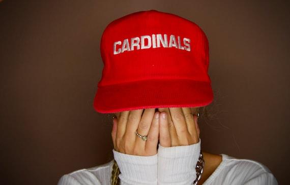 Vintage Corduroy Cardinals Cap // Red Cap // Rare