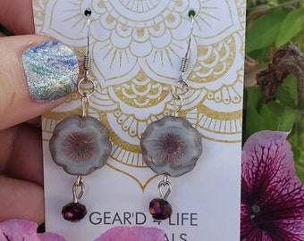 HANDCRAFTED glass purple floral earrings. Perfect stocking stuffer.