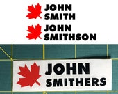 Personalized Name Bike Decal/Sticker & Canada Flag LEAF (stacked)