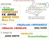 Personalized Decals (you get 2) - MTB | BMX | Road Bike | Car - Style Choice