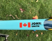 Personalized Name Bike Decal/Sticker & Canada Flag (stacked)