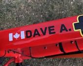 Personalized Name Bike Decal/Sticker & Canada Flag