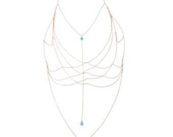 Gold Chain Top - Body Jewellery - Blue Pendant