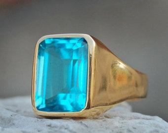 Aquamarine Ring-925 Sterling Silver Ring-Aquamarine Quartz Ring - Blue Aquamarine -Cushion Cut Shape-Jewelry- Birthstone Ring