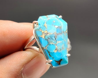 Copper Turquoise Ring Coffin Ring 13X20 MM Oyster Turquoise Ring Gemstone Ring,Prong Set Ring,Coffin Turquoise Ring Sterling Silver Ring