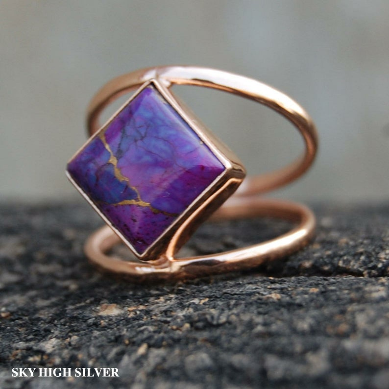 Purple Copper Turquoise Gemstone-Designer Ring 925 Solid Sterling Silver Ring Gift ring-Unique Ring-Statement Ring Purple Turquoise Ring