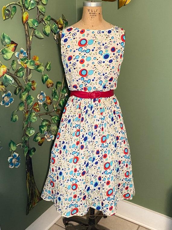 Vintage Atomic Polka Dot Pleated Dress