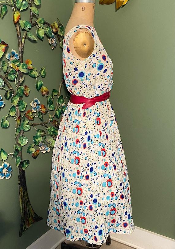 Vintage Atomic Polka Dot Pleated Dress - image 2