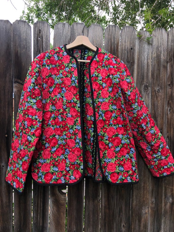 Rose print quilted jacket size M, quilted jacket,… - image 5
