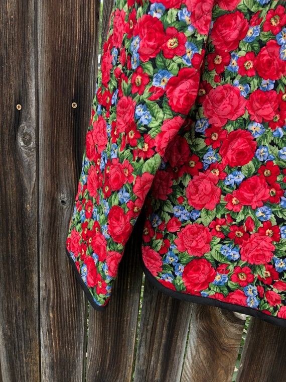 Rose print quilted jacket size M, quilted jacket,… - image 4