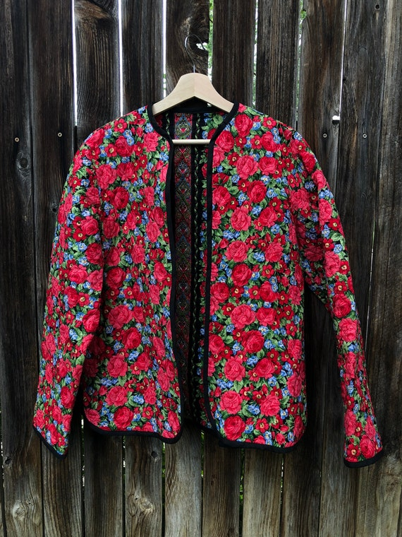 Rose print quilted jacket size M, quilted jacket,… - image 1