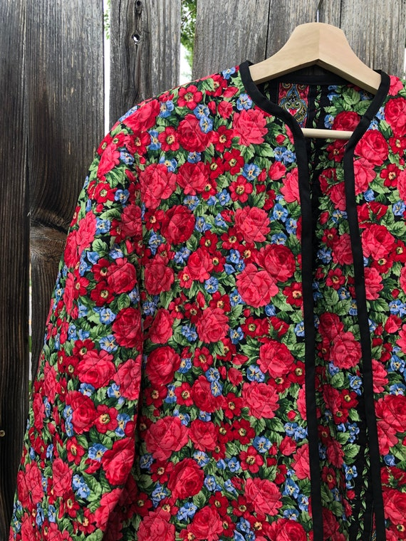 Rose print quilted jacket size M, quilted jacket,… - image 3